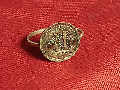 """Medieval Knight's Silver Seal Ring - """"D"""" Character Seal, 11. Century 3"""