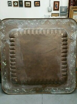 "ANTIQUE LARGE SIZE BRASS, Copper TRAY 45 ""×45"" HANDMADE 8"