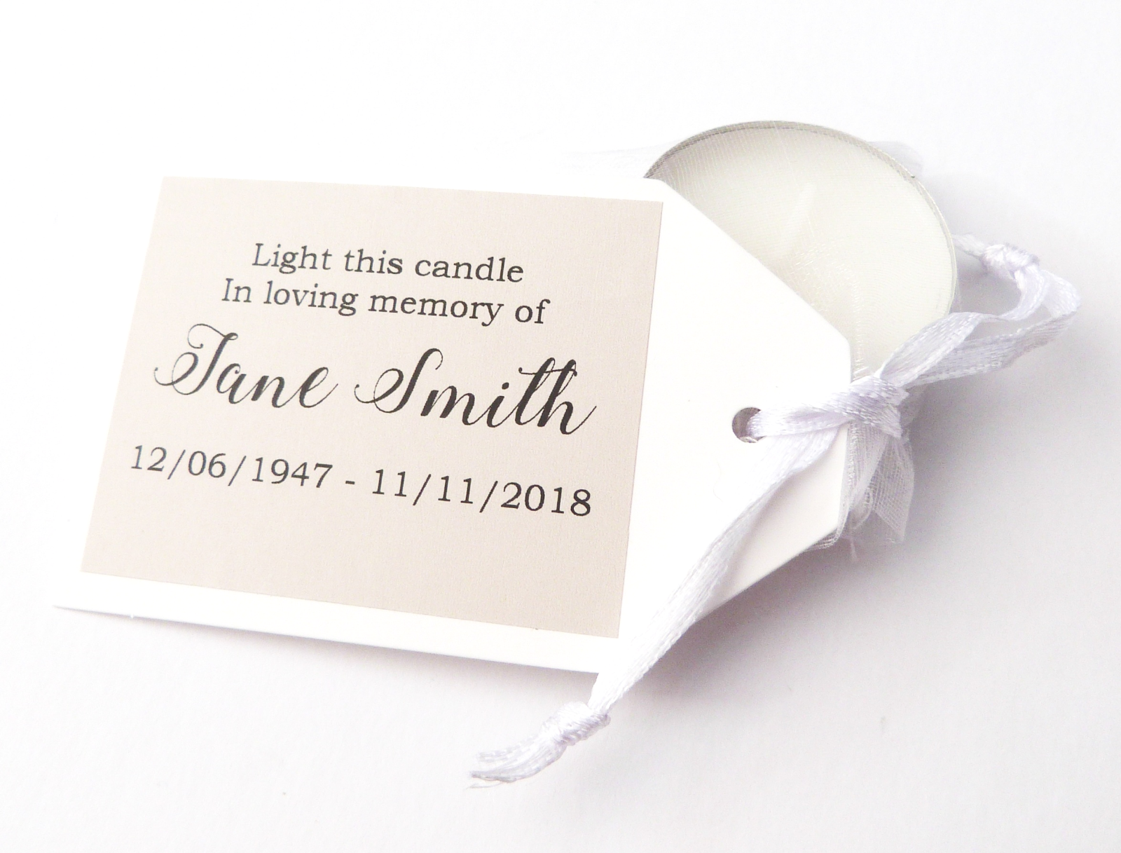 Personalised Funeral Rememberance Tealight Candles In Memory Of Coloured Favour 6