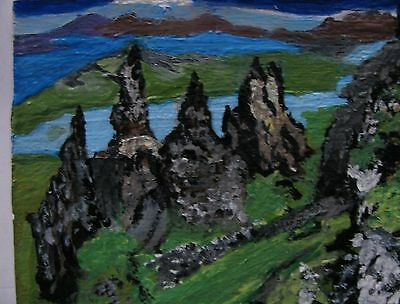 """A444 Original Acrylic Art Aceo Painting By Ljh One-Of-A-Kind """"Ireland Landscape"""" 12"""
