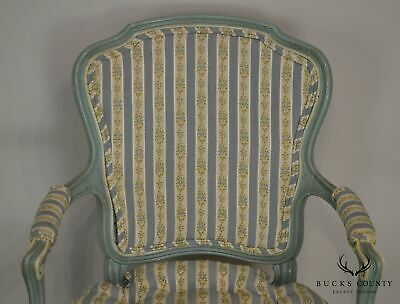 French Louis XV Style Vintage 1960's Custom Painted Pair Armchairs 8