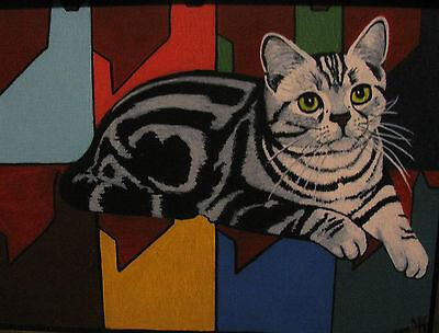 """C226    Original Acrylic Painting By Ljh  """"Meo & Tia""""  Siamese  Cat 6"""
