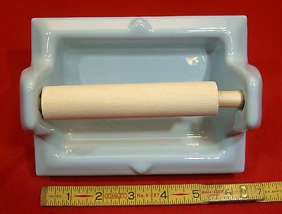 Vintage *Light Blue* Glossy Ceramic Toilet Paper Holder by Fairfacts     NOS 6