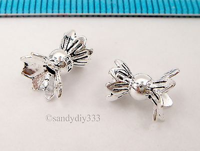 1x BRIGHT STERLING SILVER FLOWER SWIRL END CAP CONE SPACER BEAD 12.9mm  #2993