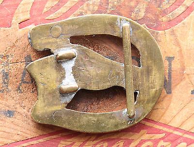 Vtg Small Hand Made Brass Copper Nickel Horse Head Cowboy Western Belt Buckle 3