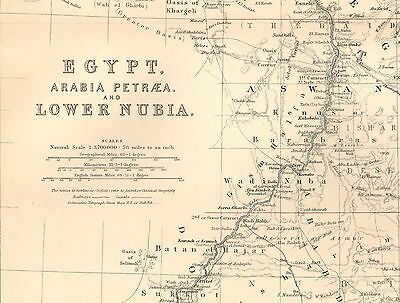 1911 Large Victorian Map ~ Egypt Arabia Petraea & Lower Nubia Cairo Nile 2