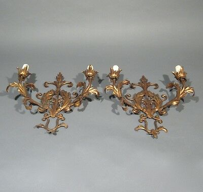 Pair of Vintage French Gilded Tole Sconces, Acanthus Leaves, Riviera Style 4