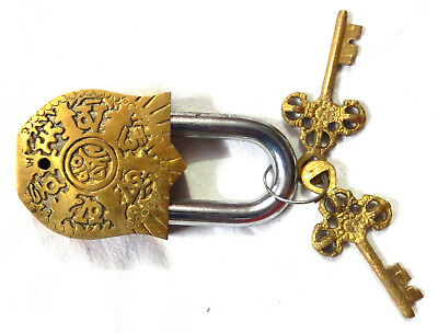 Tibetan Padlock Antique Vintage Style Handmade Solid Brass Lock With Unique Keys