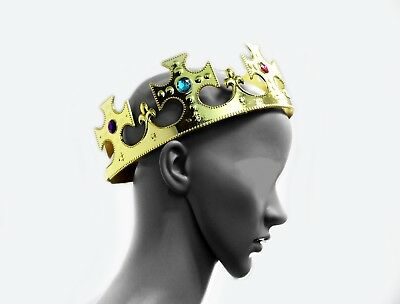Gold Royalty Plastic king Queen Crown Princess Tiara Prince Crown Costume 2