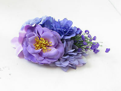 Purple Lilac Rose Peony Flower Fascinator Hair Clip Rockabilly Races Vintage 103 8