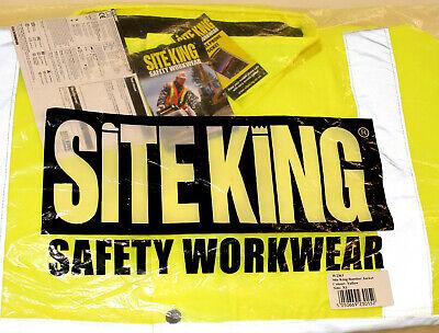 Mens Hi Vis Work Padded Bomber Jacket Coat By SITE KING - HIGH VISABILITY W2363 4