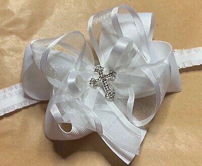 Baby Girl Pure White Christening Headband Baptism Wedding Bow Cross Hairband 2