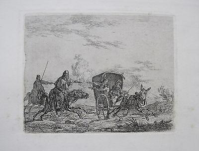 Christian David Gebauer: Kosaken Cossacks Radierung 1813 Überfall Auf Kutsche