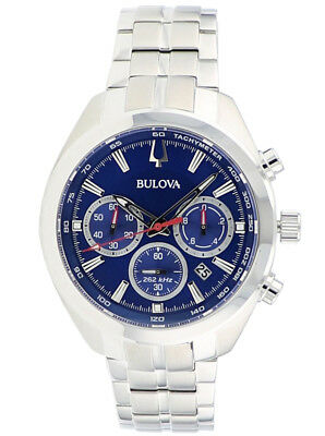 Bulova Men's 96B285 Quartz Chronograph Blue Dial Silver-Tone 44.5mm Watch 2