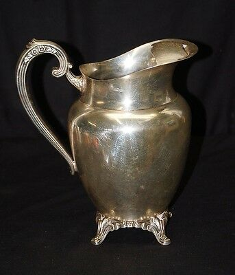 Old Vintage Silver Plated Wm A Rogers Footed Water Pitcher Ice Guard Silverplate 2