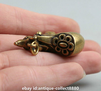 """1.3""""Curio Chinese Bronze Zodiac Animal Lucky Mouse Moneybag Wealth Small Pendant 8"""