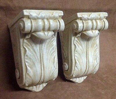 Antique Finish Shelf Acanthus Leaf Wall Corbel Sconce Bracket Pair 2