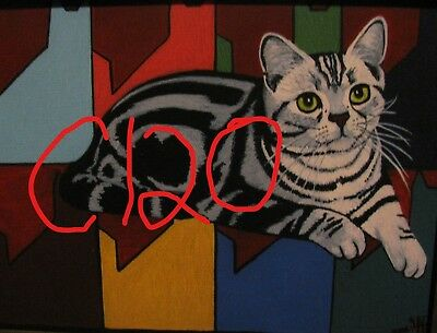 "C179  Original Acrylic Painting By Ljh  ""Teddy ""  British Shorthair  Cat  Kitten 12"