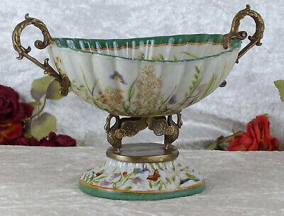 Schale Porzellan Bronze Snackschale Jugendstil Craquelle Antik Prunkschale Deko