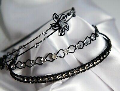 Luxus Haarreifen schwarz mit 2 Reihen Strass Strasssteinchen