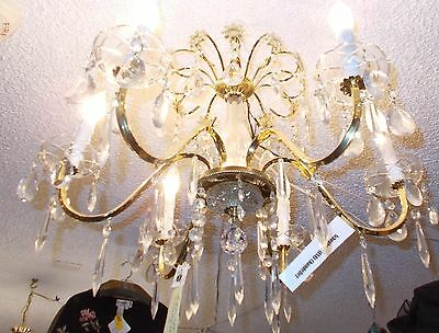 Vintage Schonbeck Gold and Crystal 6 Arm Chandelier:  Bay Area Salvage 4