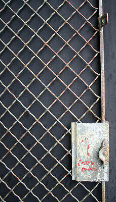 "32""x79"" Vintage Old Steel Metal Fence Gate Door Panel Grille Industrial Factory 3"