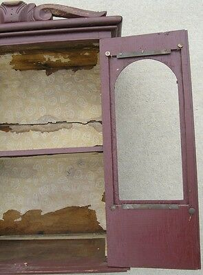 18/19 Century Delicate Early American Primitive Hanging Cupboard Red Paint 4