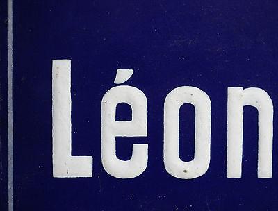 French enamel steel street sign road plaque vintage Boulevard Leon Léon Rocher 2