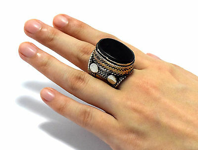 Black Onyx Stone Ring Turkmen Tribal Kuchi Afghan Jewelry Ethnic Gypsy Boho Ring 6