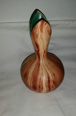 "Vtg Garden of the Gods Pottery-Colorado 6"" Tall  4"" wide Copper vase unique top"
