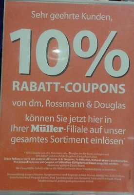 12 Stück 10 % Rossmann Coupons Gutscheine ggf. DM & Müller Mai 31.05.2019 NEU 2