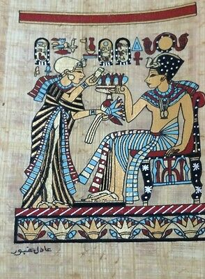 Original Egyptian Papyrus, King Tutankhamun, Handmade Painting 12 x 16 Cm 2