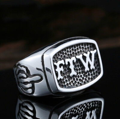 Biker Ring Ftw Stainless Steel Motorcycle Finger Middle Men S Outlaw