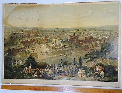 SUPER RARE Lithograph Print- Jerusalem 1903 by Palestine Art League Buffalo NY 2