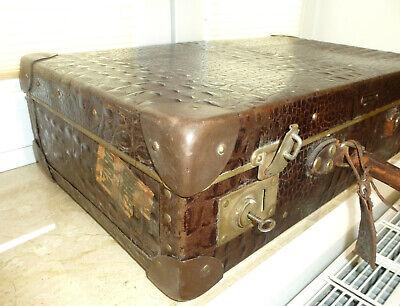 Real Volcano Fibre Suitcase um 1910 Vulcanised Fibre Travel Cases 9
