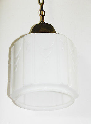 Old French School House Pendant Light Gorgeous Deco Opaline White Glass 3