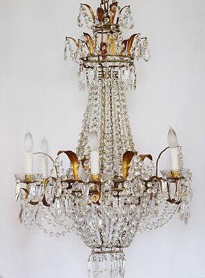 RARE Incredible Xlrg ANTIQUE Italian Beaded CHANDELIER Light GORGEOUS