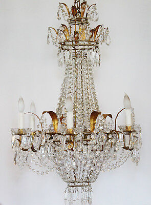Incredible Xlrg ANTIQUE Italian Beaded CHANDELIER Light GORGEOUS Rare! 4