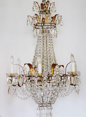 RARE Incredible Xlrg ANTIQUE Italian Beaded CHANDELIER Light GORGEOUS 4