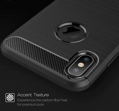 For iPhone XR X XS Max Carbon Fiber Cover Shockproof TPU Heavy Duty Soft Case 3