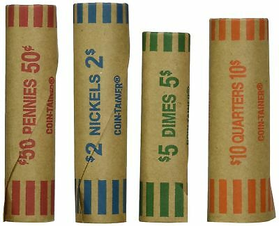 72 PREFORMED ASSORTED WRAPPERS ROLLS - Quarters, Dimes, Nickels, Pennies - Coins 2