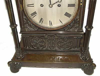 Antique Gothic BRONZE Twin Double Fusee Bracket Mantel Clock CLEANED & SERVICED 6