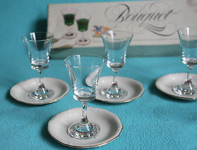 """Dema """"Bouquet"""" 6x liquer Glasses and 6x Bavaria Windsor floral pin dishes 3"""