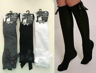 3 Pairs Girls Fashion Cotton Knee High Children Kids School Socks With Bow Size 2