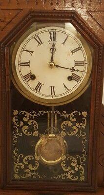 Antique Working 1870's Waterbury Clock Co. Victorian Walnut Parlor Mantel Clock 4