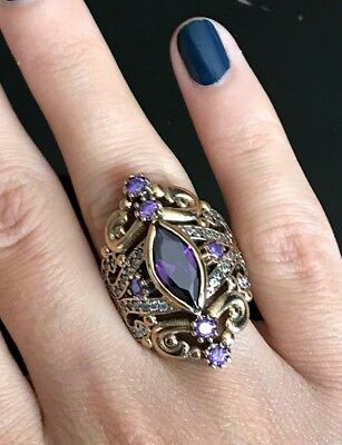 925 Sterling Silver Handmade Authentic Turkish Amethyst Ladies Ring Size 6-10 2
