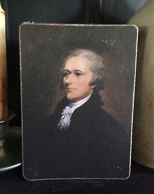 """Primitive Colonial Alexander HamiltonPatriotic Print on Canvas Board 8x10"""""""