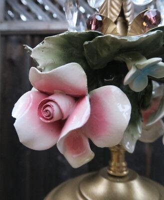 Porcelain ROSE pink Chandelier SWAG lamp Capodimonte Brass Vintage crystal 10