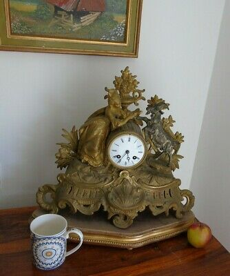 Antique Classical Mantel Clock Japy Freres  D Honneur Gilt Goat  French Art Girl 5