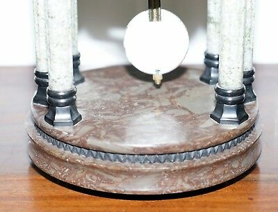 Vintage Marble Pillared Clock With Working Pendulum Movement Nautical Theme 10